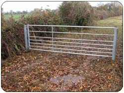 Construction of a Galvanised field gate and a field bridge with handrail before picture